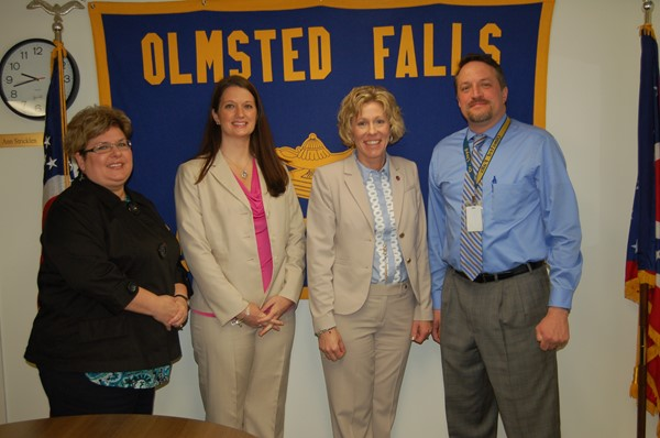 Olmsted Falls Board of Education Member Linda Parkowski, OFCS Treasurer/CFO Emily Dales, OH State Board of Education President Tess Elshoff and OFCS Superintendent Dr. Jim Lloyd