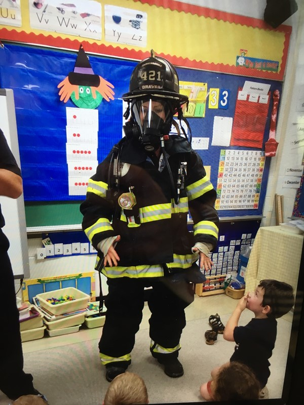 Firefighter/dad visit