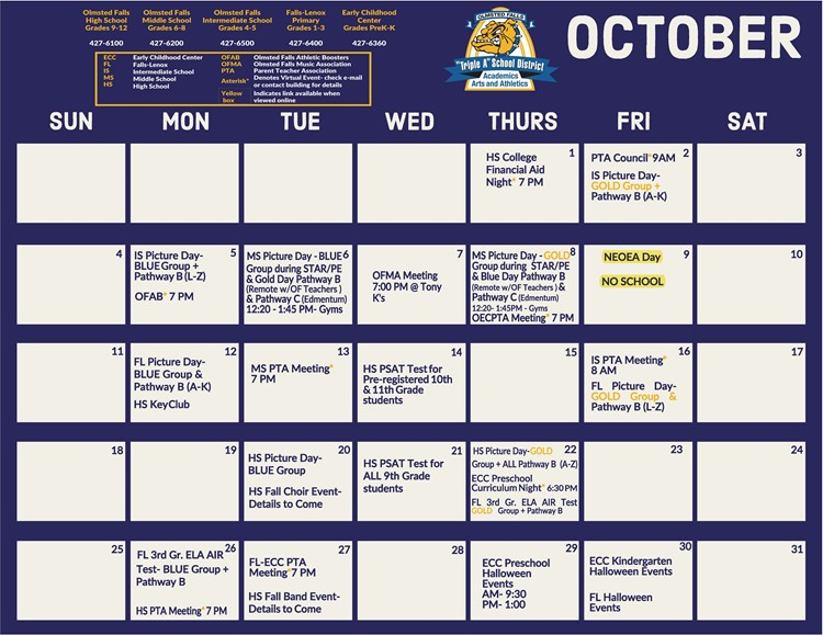 October 2020 At-A-Glance Calendar