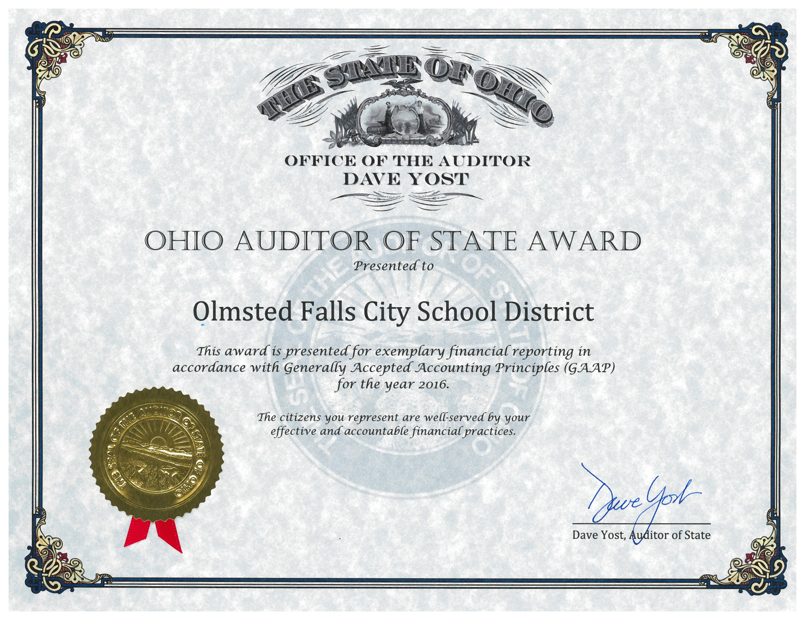 Auditor of State Award